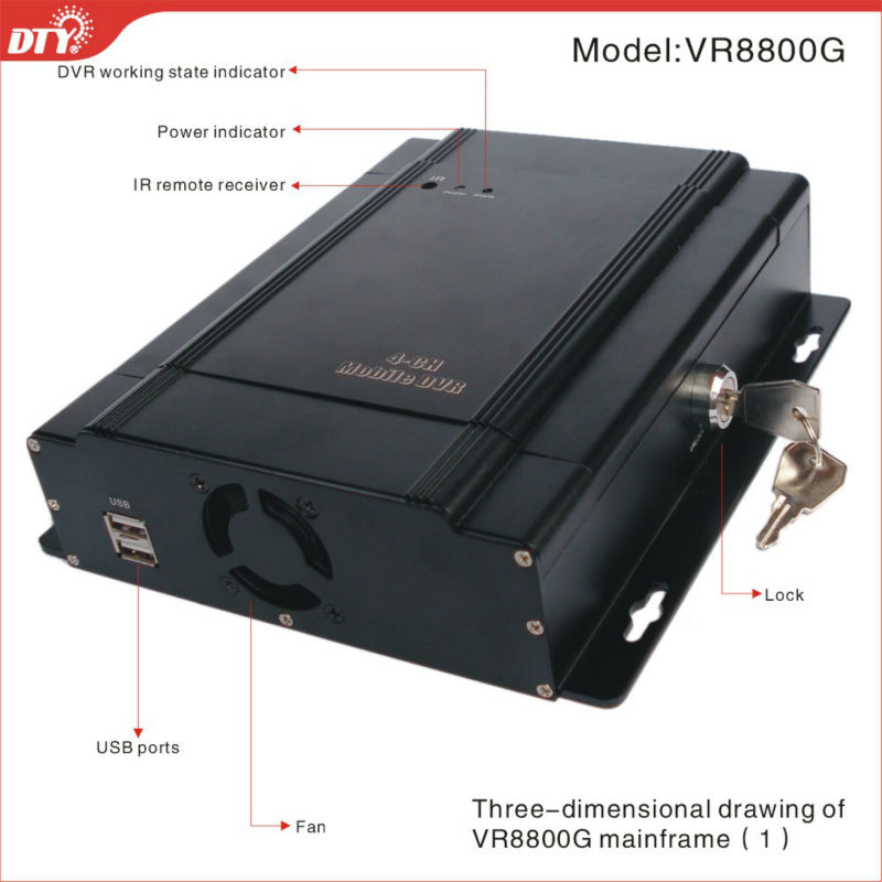 "4CH D1 3.5""TFT With GPS HDD DOD Vehicle Mobile DVR"