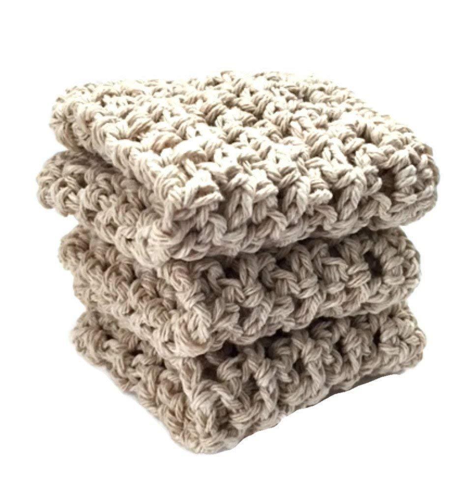 Handmade Dish Cloths Cream Beige Wash Cloths Neutral Crochet Cotton Kitchen Dishcloths Set of 3