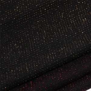 Wholesales modern shiny sequin pattern plain dyed jersey knitted warp black metallic fabric