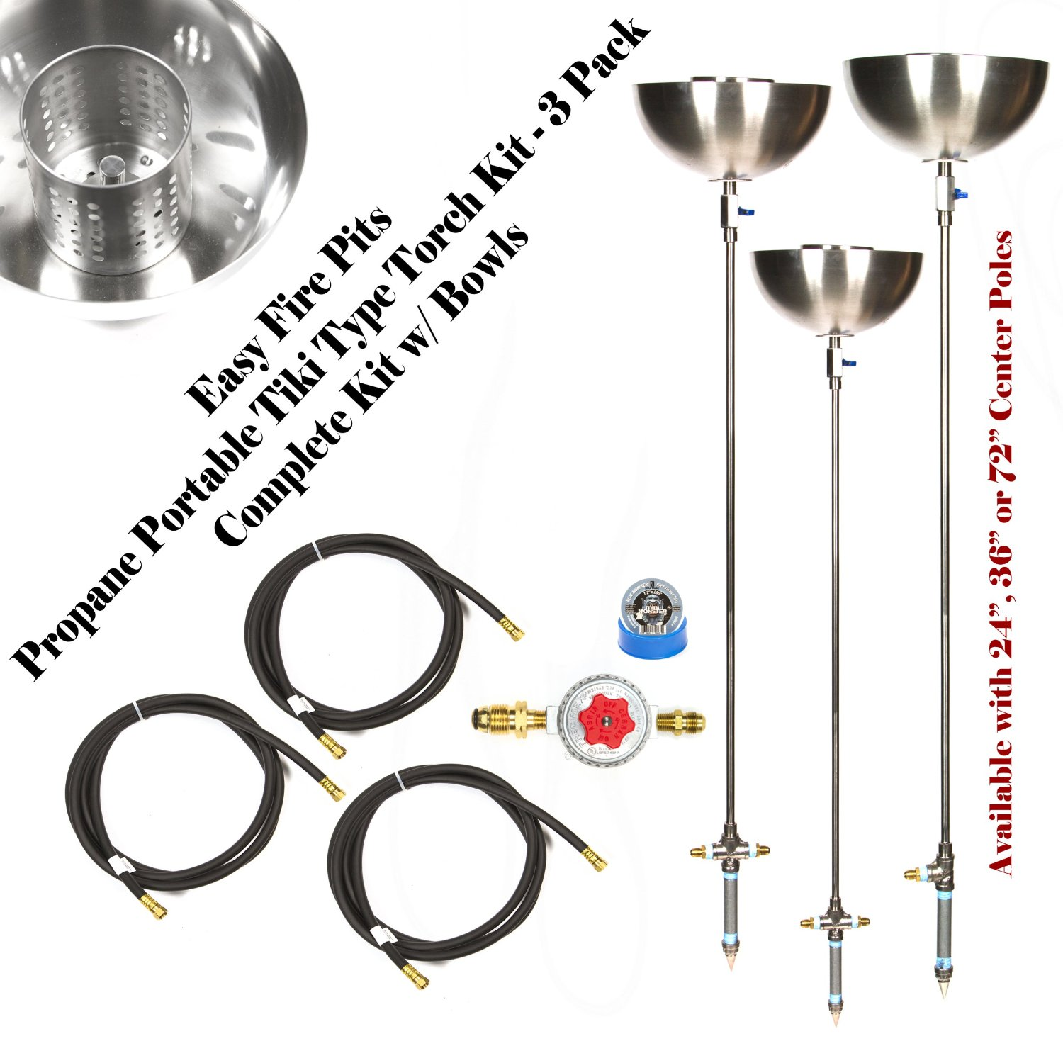 Create Your Own DIY (3 Pack) Portable Propane 72″ Stainless Steel Tiki Type Torches w/ All Except Lp Tank; Torch72b4bck-3pk