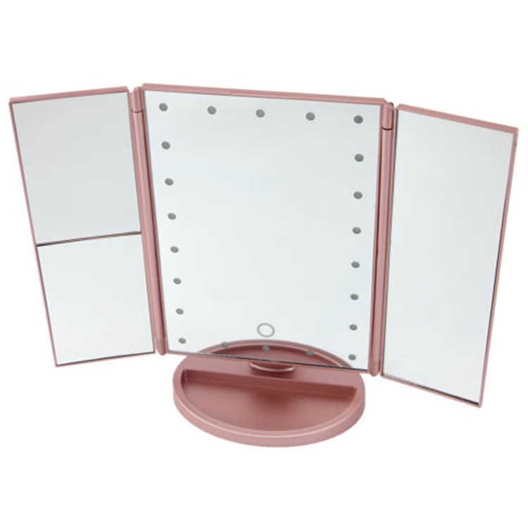 LED Touch Screen 22 Light Vanity 3 Folding Adjustable Mirror 180 Degree Free Rotation Table Cosmetic  Mirror Makeup Mirror