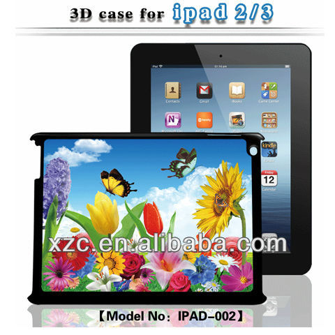 Hot selling 3D bear case for ipad2/3 with flowers and butterfly image
