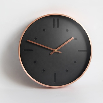 Minimalism 30cm Rose Gold Wall Clock with Silent Sweep for Living Room Hallway Decoration