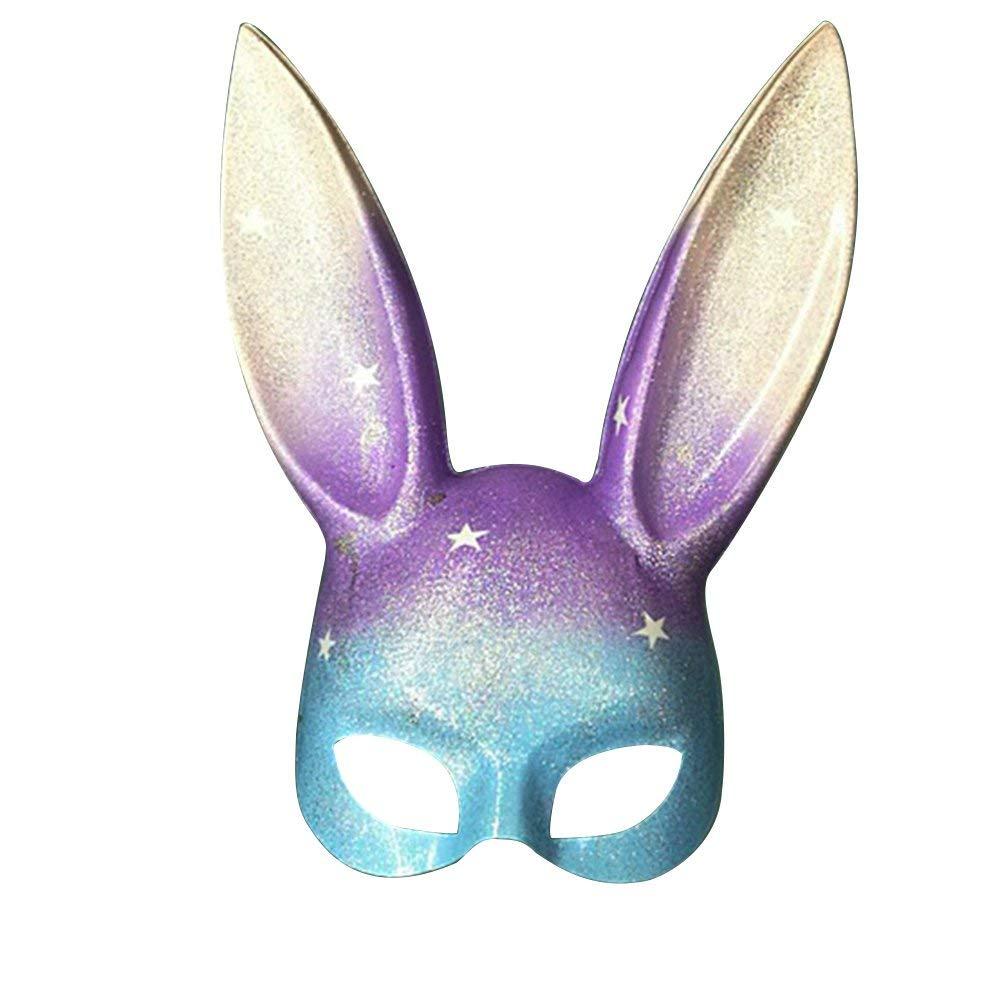 LUOEM Easter Bunny Mask Half Face Rabbit Mask Masquerade Mask Costume Accessory (Rainbow Glitter)