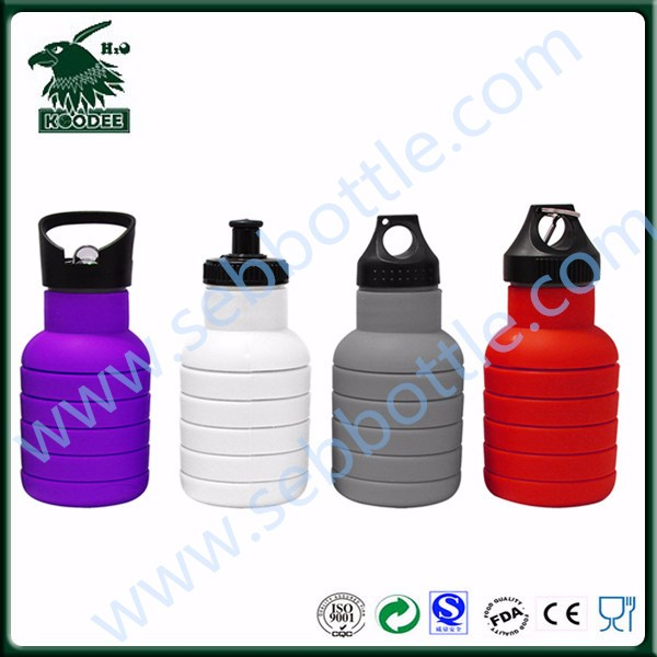 2017 Flexible silicone water bottle with patent/OEM factory