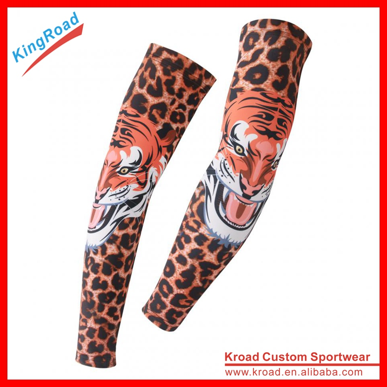 Anti UV Leopard Print Sports Compression Arm Sleeve, Protective Arm Warmers, Sleeves Arm