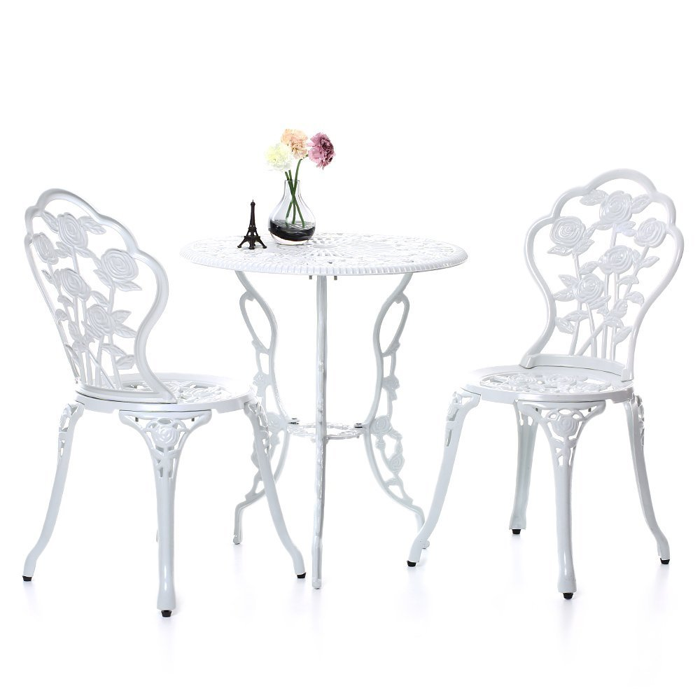 Ikayaa 3pcs Modern Patio Furniture Outdoor Garden Bistro Set Iron Aluminum Balcony Cafe Table Chairs