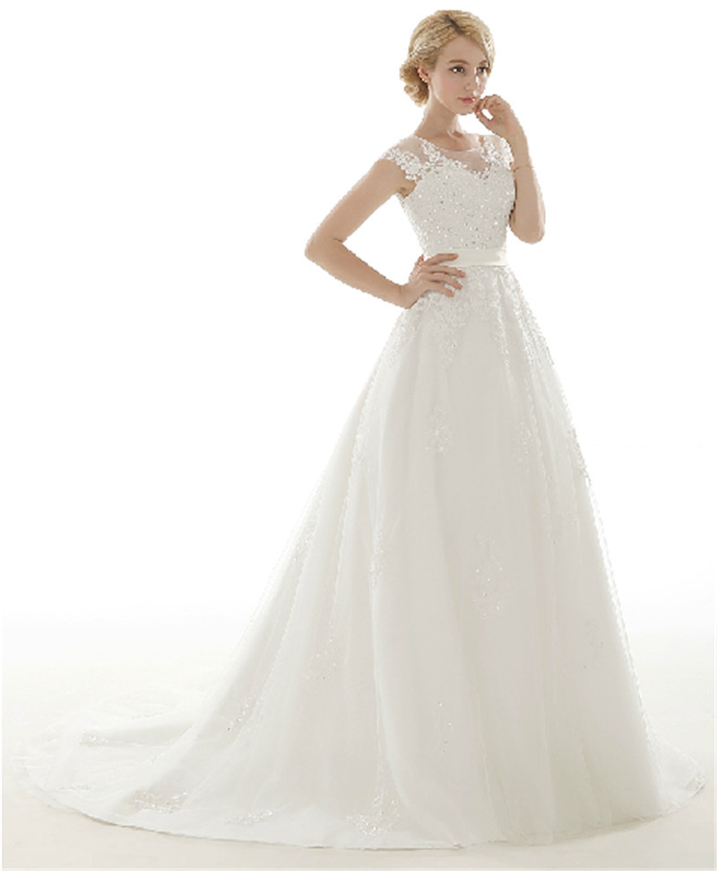Vestido De Novia Modest 2015 Tulle A Line China Wedding Dresses Cap Sleeve Sleeveless Wedding Gown Bead Applique China DressShop