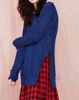 EY0344S Europe station winter long sections twist counter money split knit pullover sweater Women