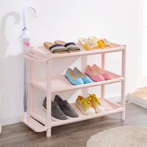 Customized color size 3 layer shoe rack plastic storage shelf