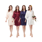 Woman Satin lace silk bridesmaid robe