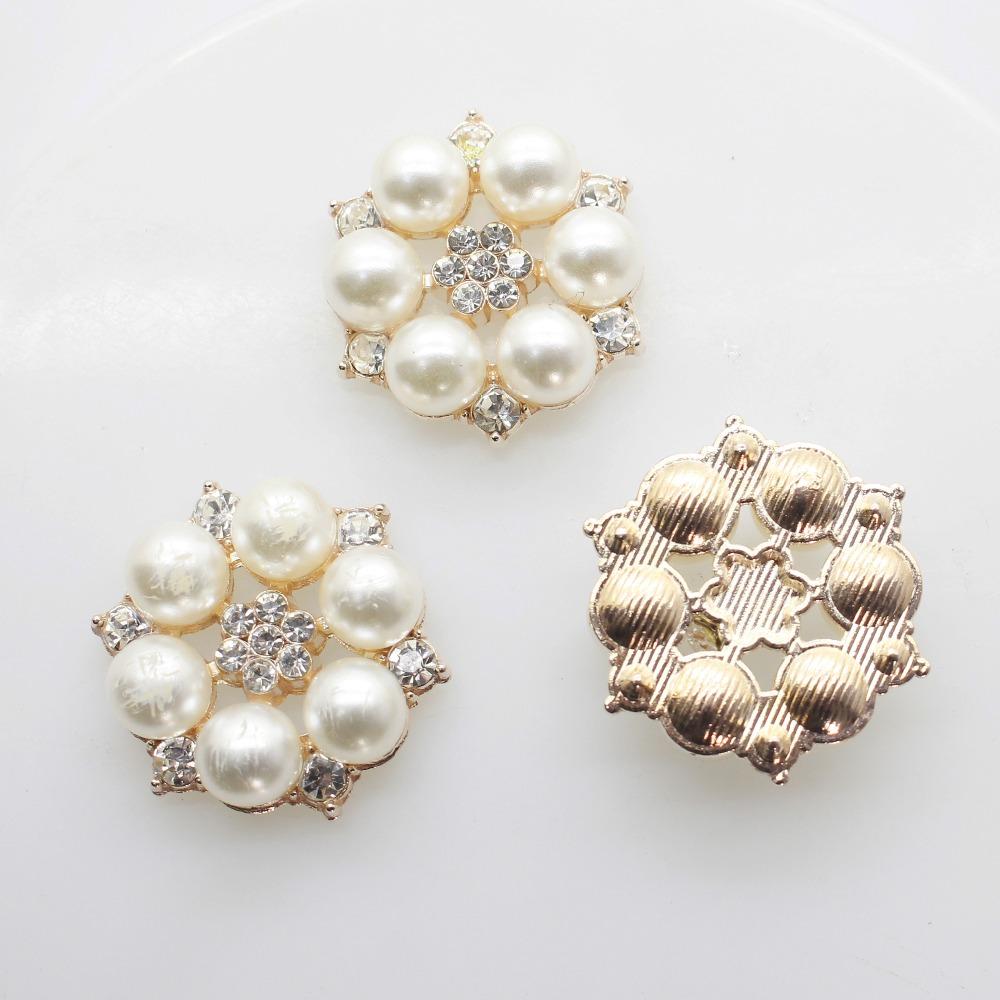 c7b8eb860d 10pcs/set Two Colour 25mm Flower Rhinestones Buttons Pearl button wedding  decoration Diy Alloy Diamond Crystal Bow Accessories