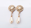 2016 fashion alloy sea shell pearl drop earring,round sun shape pearl crystal earring with nice quality(PR384)