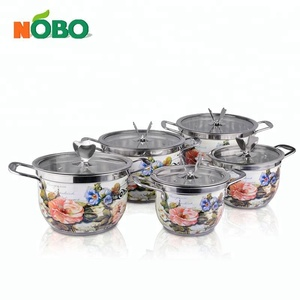 Promotion Gift Glass Lid Steel Handle Stainless Steel 10pcs Sandwich Bottom Flower Cookware Sets