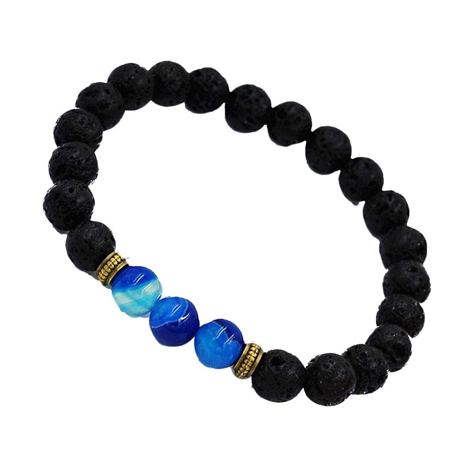 JSPOYOU Promotions! Womens Mens Alloy Agate Lava Stone Transport Bead Bracelet By