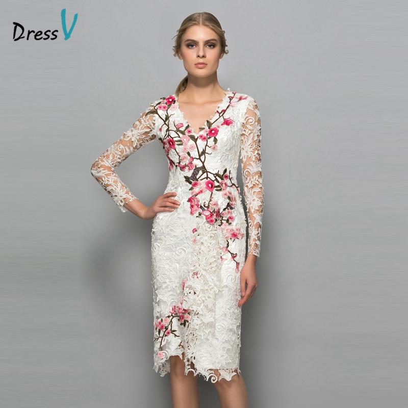 5ff8da2603b7d Dressv V-neck long sleeves cocktail dress sheath appliques lace knee length  flowers elegant cocktail dress formal party dress