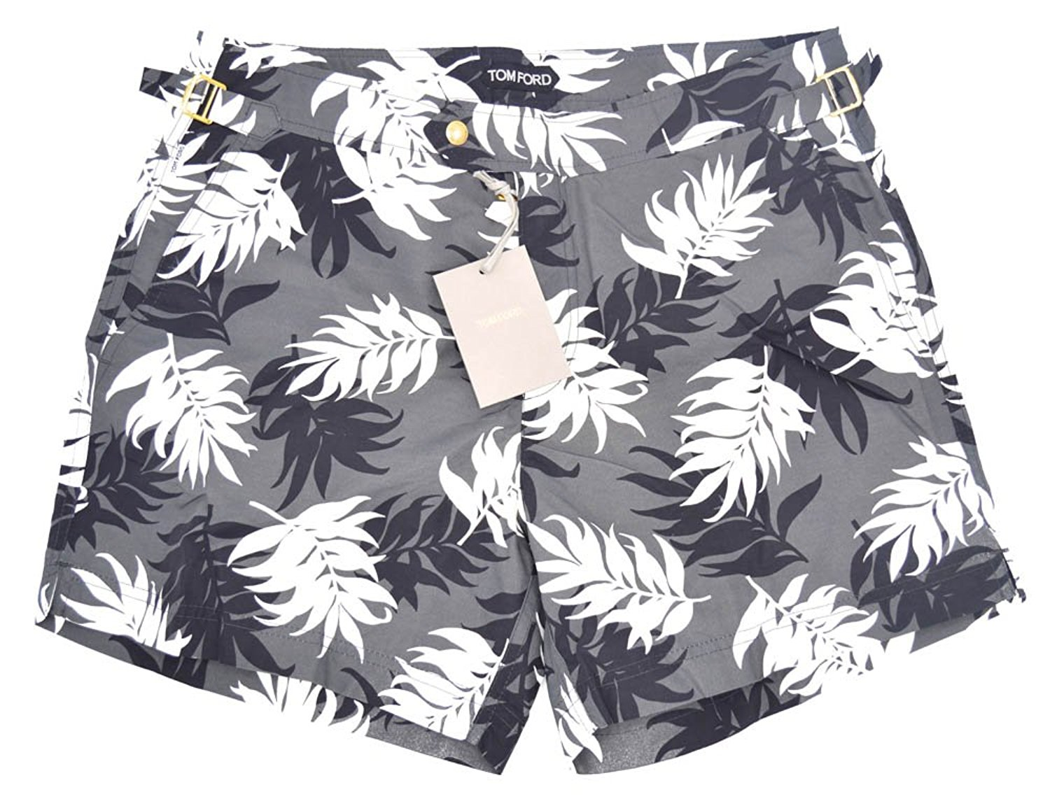 Tom Ford Black & White Floral Swimming Trucks Shorts Bathing Suit Size 48 Euro