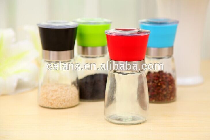 multifunction kitchen glass pepper grinder with colorful plastic cap
