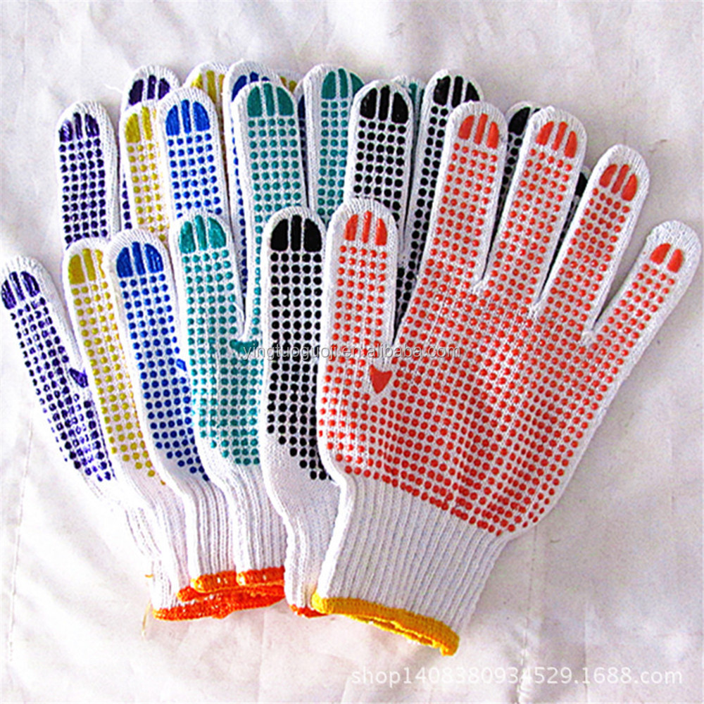 Bleached cotton yarns and PVC blue Dotted Working Safety Gloves For Garden