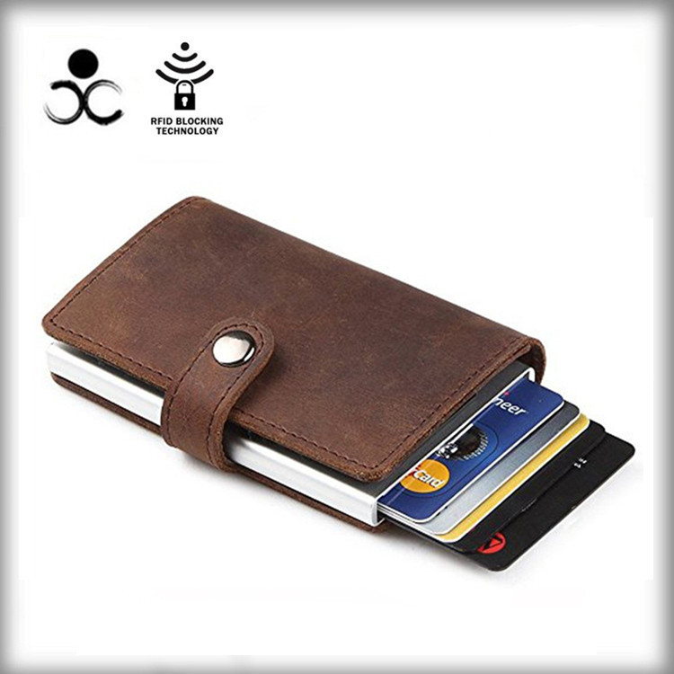 Manufacturers custom wind horse leather + aluminum purse, metal wallet credit card holders