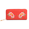 leather Embroidery Flower bifold travel lady oem coin wallet