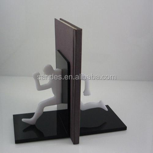 Handmade Black Clear Acrylic Bookends with One White Running Man
