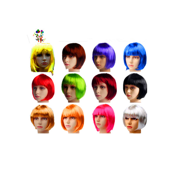 Cheap Colors Party Costume Short Bob <strong>Synthetic</strong> <strong>Wigs</strong> HPC-1296