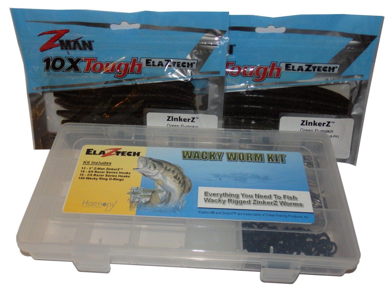 """Wacky Rig ZinkerZ Kit - (12) 5"""" Z-Man ZinkerZ Worms, (10) 4/0 Hooks, (10) 2/0 Hooks, (50) Wacky Rig O-Rings"""