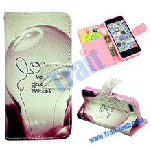 Wallet Style Magnetic Flip Stand TPU+ PU Leather Portfolio Case for iPhone 5C