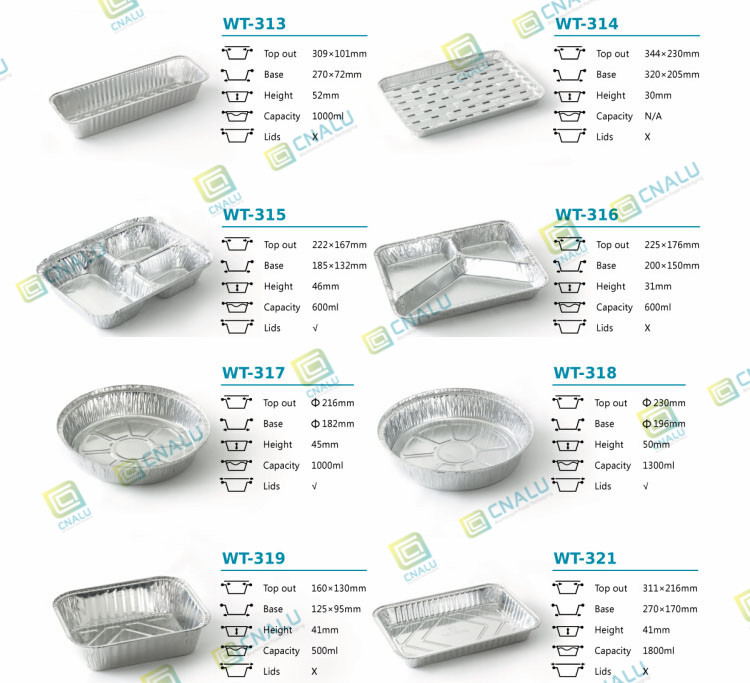 Tin Foil Food Box Silver Plate Aluminum Packaging