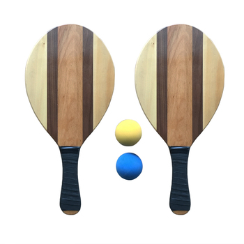 Solid Wooden Frescobol Beach Paddle Racket Ball Set