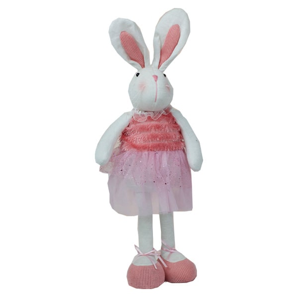18&quot; Inch Pink Easter Plush Standing Long Legs Bunny <strong>Rabbit</strong> with Cute Skirt
