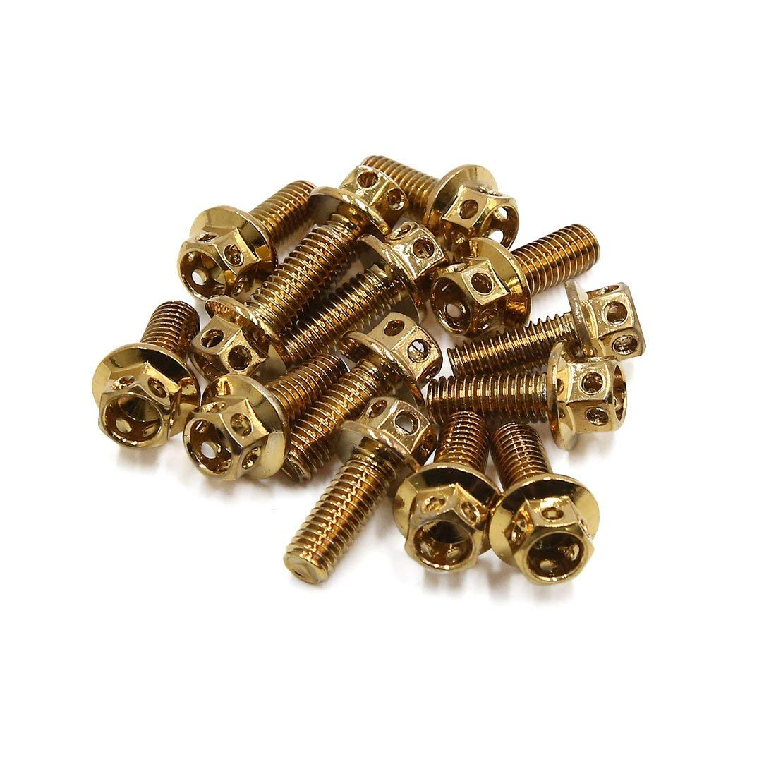 uxcell 14pcs Gold Tone M6 x 15 Motorcycle Titanium Alloy Hexagon Bolts Clips Screws