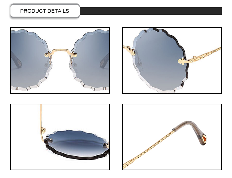 Fashion Flower Wave Trimming Oval Metal Rimless Retro Women Sunglasses