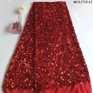 African wedding dress sequin embroidery lace fabric red lace pretty french lace