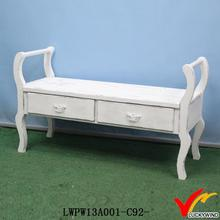 2 drawers antique white bed wooden footrest stool