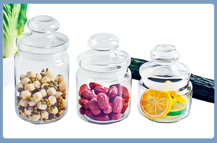 Various Sizes Clear Air Tight Glass Storage Jars For Food