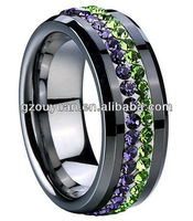 Engagement ring set, black ceramic ring with colorful zircon, semi mount engagement ring setting