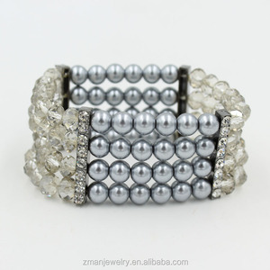 New Arrival Glass Bead Liked Pearl Wrap Stretch Bracelet