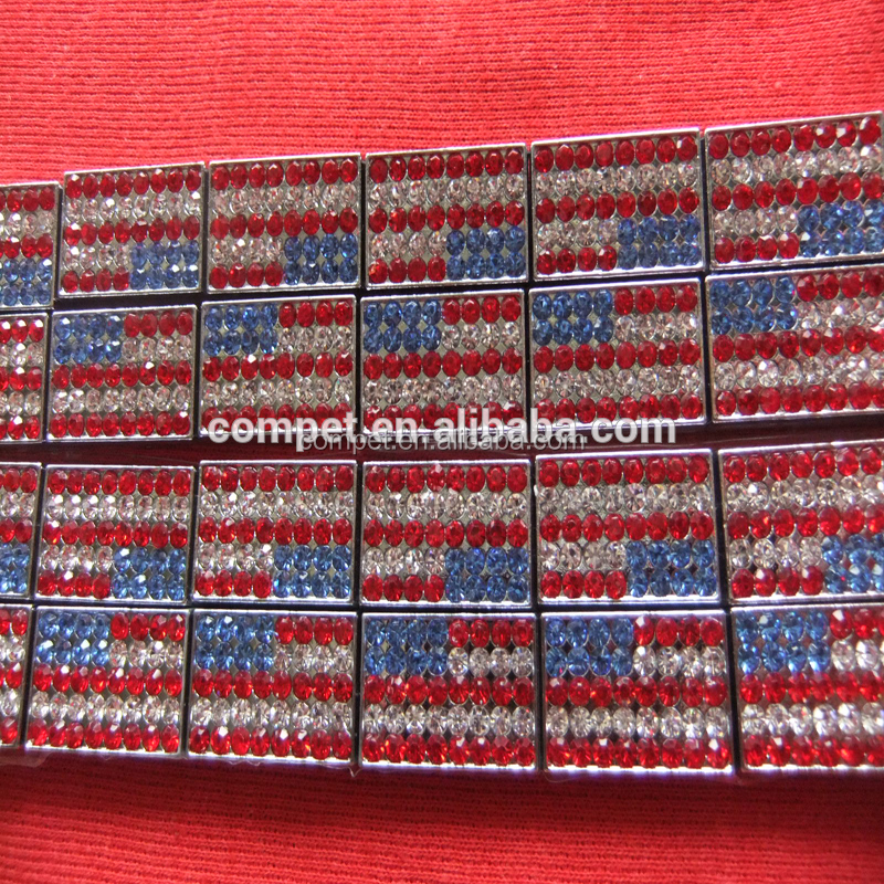 Wholesale jewelry American flag USA flag charm, 10 mm slide charms Alloy diamond flag
