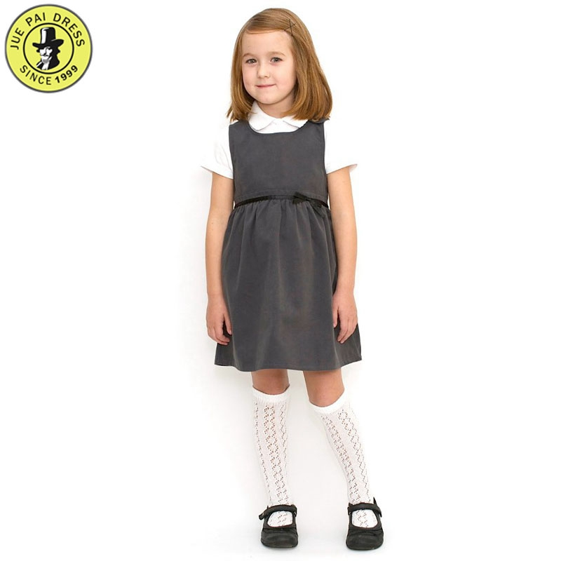 11430e495 School Uniform Girls Woven Pleat Pinafore Girls School Pinafore Dress  Permanent Pleats Navy & Grey School
