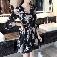 cy20044a C1003a 2018 new spring summer fashion women print dress short dress simple style v neck flounced dress