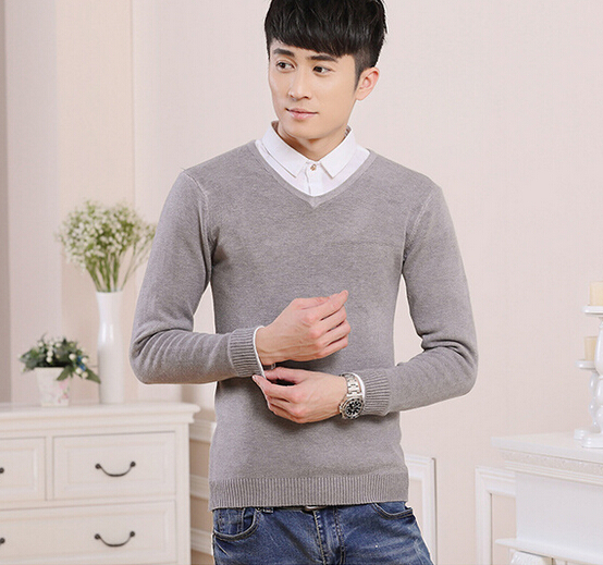 d71437h 2015 new 100% cashmere v neck sweater pullover for men