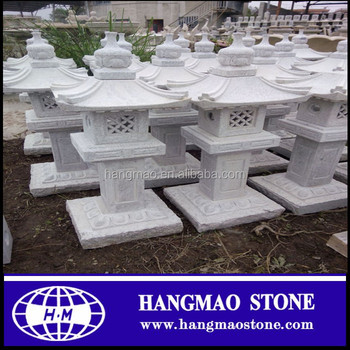 Grey granite carved outdoor stone japanese lanterns