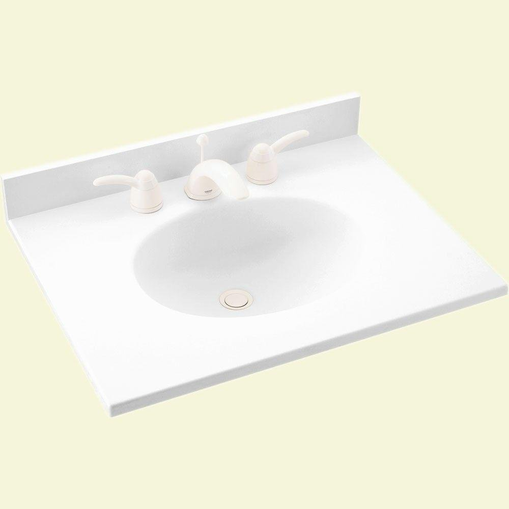 "Swanstone VT1B1719 Ellipse 19"" Engineered Stone Vanity Top with 3"" Backsplash -, White"