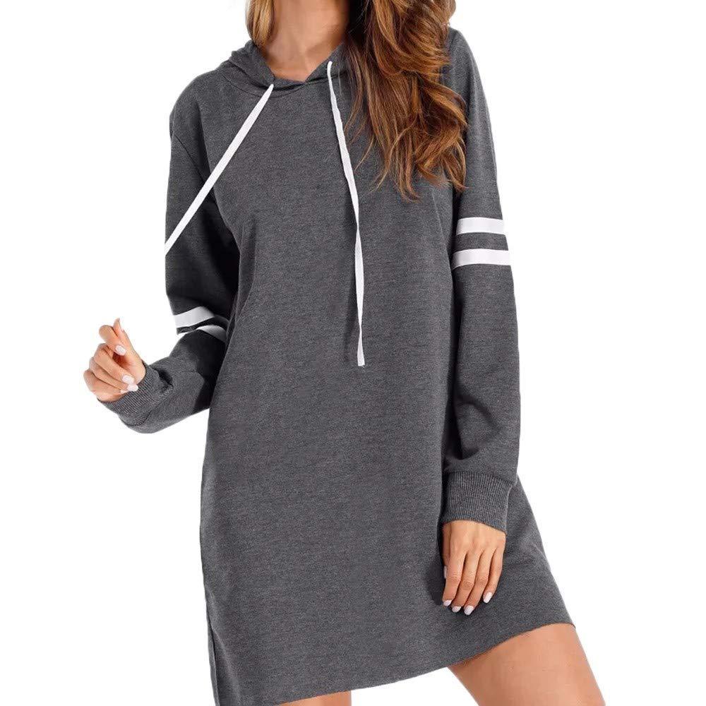 Clearance!Women Fashion Hoodie Sweatshirt Mini Dress Cuekondy Striped Long Sleeve Casual Hooded Jumper Pullover