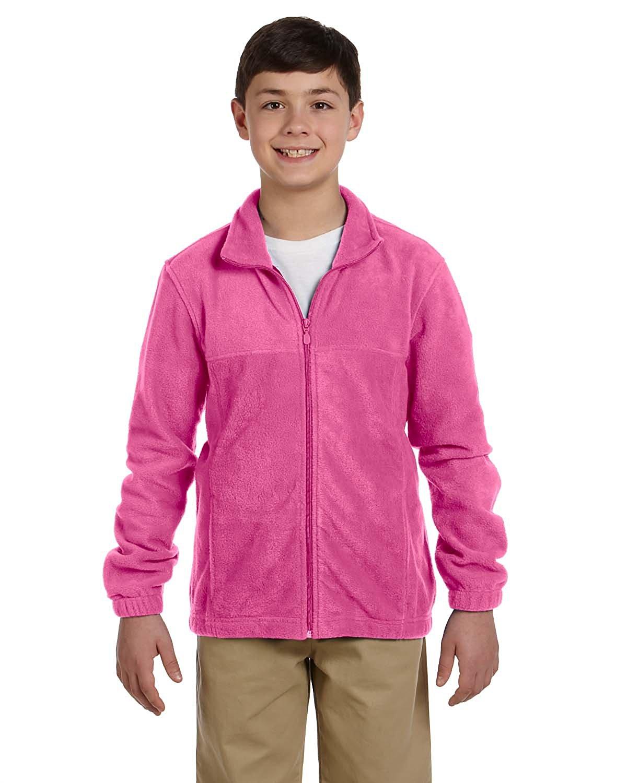 Harriton Youth 8 oz. Full-Zip Fleece - CHARITY PINK - M Youth 8 oz. Full-Zip Fleece