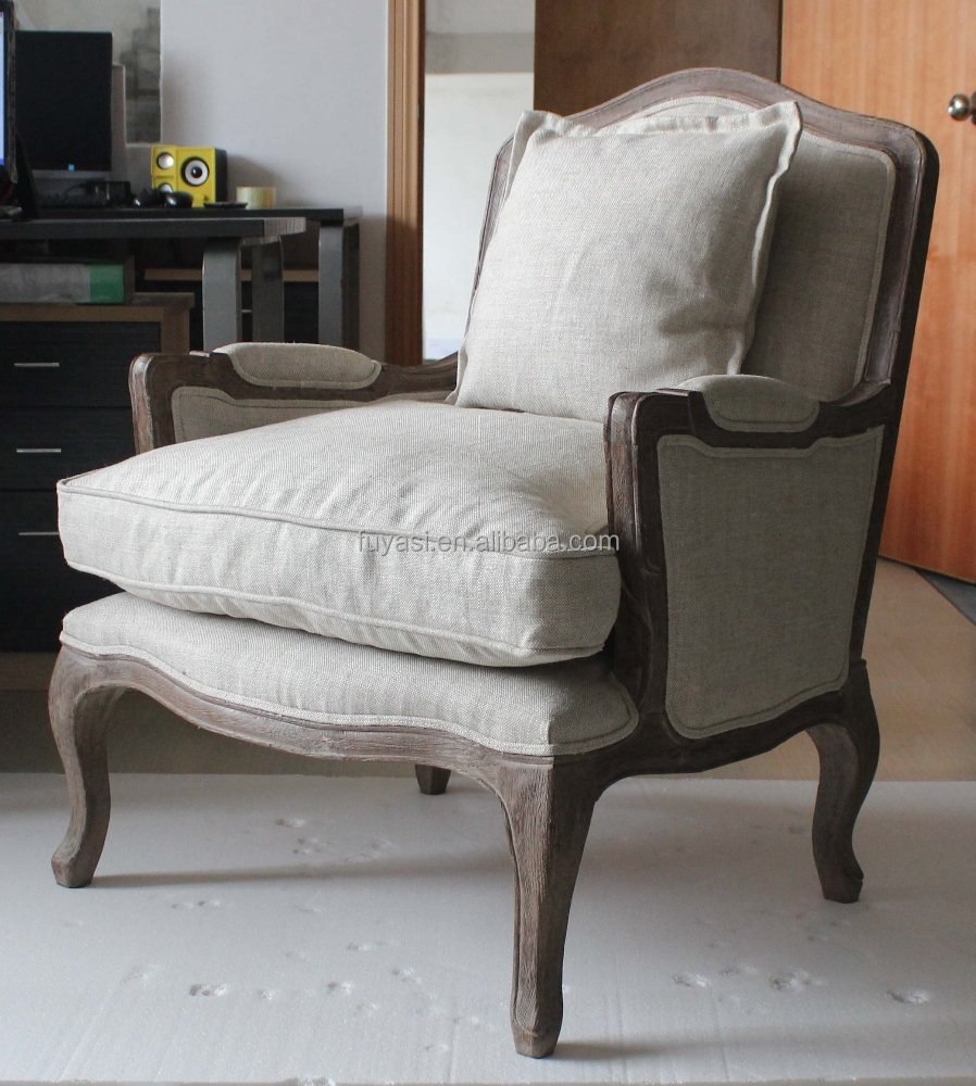 American countryside style living room chair ELM Wood frame fabric seating french furniture YH-228