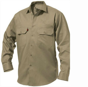 Khaki Men's long sleeve shirt workwear shirt garment