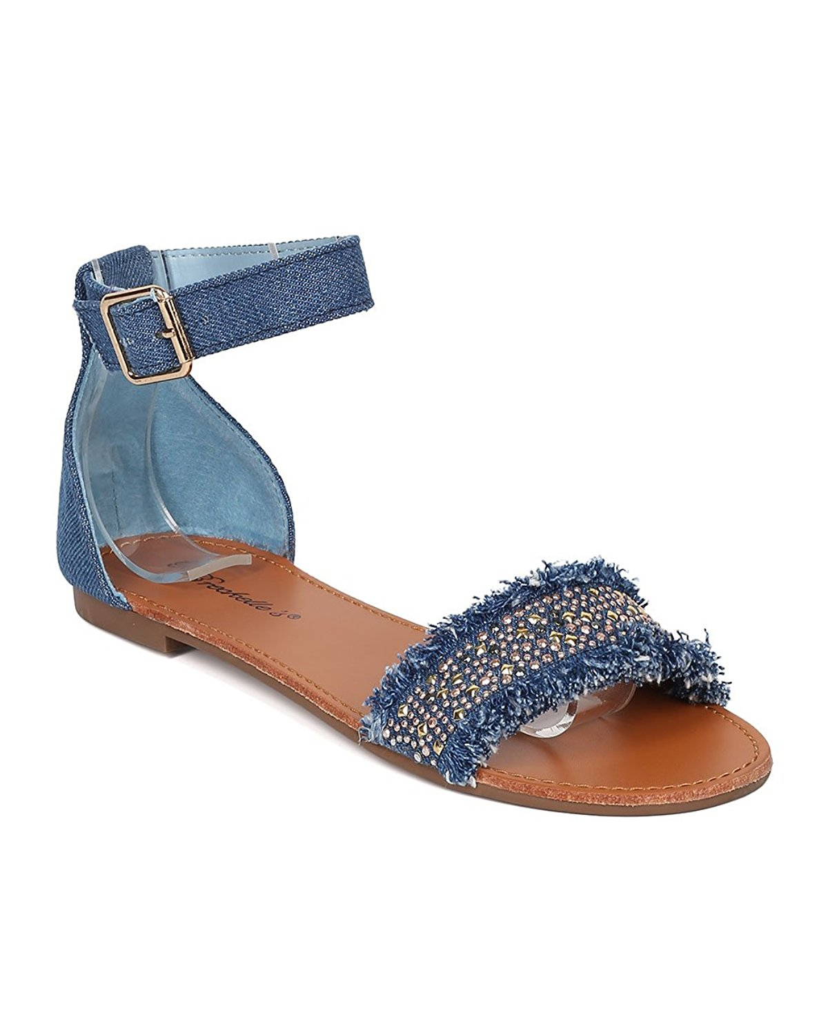 f756467c349 Get Quotations · Breckelle s Women Beaded Flat Sandal - Ankle Strap Sandal  - Comfortable Everyday Casual on The Go